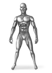 Illustration of a chrome man in standing pose