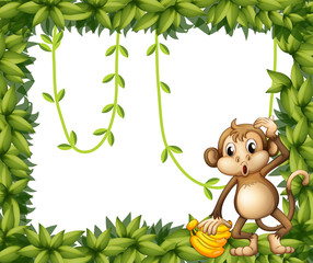 A  frame of leaves with a monkey and bananas