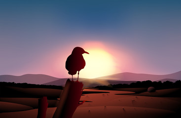 A sunset in the desert with a bird at a branch of a tree