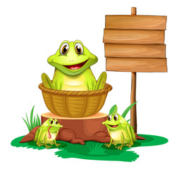 A frog inside a basket near the empty signboard