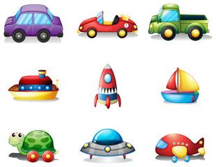 Nine different kind of toy transportations