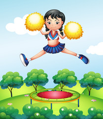 A cheerleader jumping