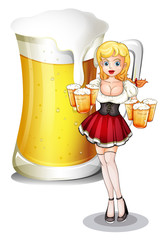 A waitress with six mug of cold beers