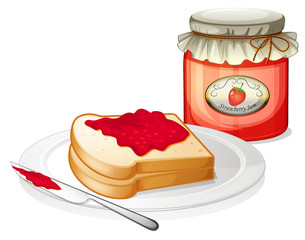 A sandwich with a stawberry jam