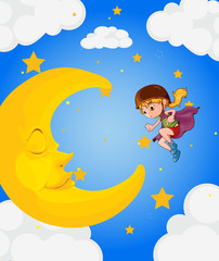 Fotobehang Superheroes A girl near the sleeping moon