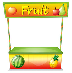 A wooden fruit cart