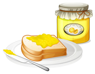 A bread with a sandwich spread