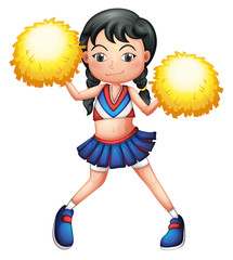 A cheerleader in her uniform with yellow pompoms
