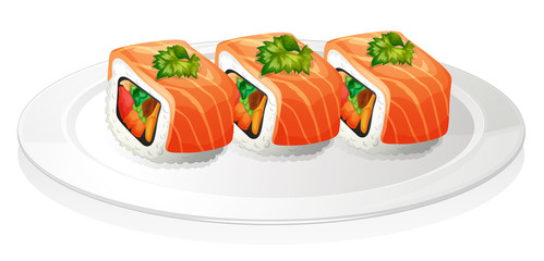 A plate with sushi