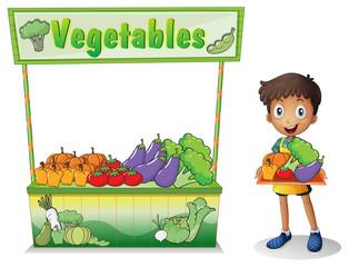 A boy selling vegetables