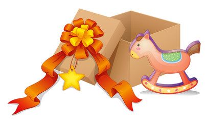 A box with a ribbon and a toy