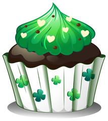 A chocolate flavored cupcake