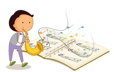 A musician holding a trumpet with a musical notebook