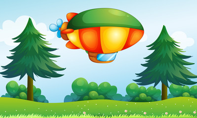 Photo sur Toile Avion, ballon A colorful aircarft above the hill