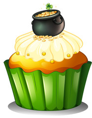 A pot of gold at the top of a cupcake