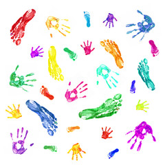 Colorful prints of painted hands and feet of family, mom, dad an