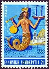Mermaid and a chapel on a Greek island (Greece 1982)
