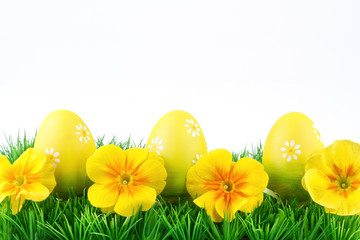 Easter background in yellow-green colors