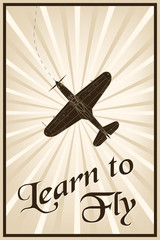 Vector vintage poster with a plane