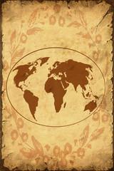 Retroplakat - Weltkarte