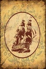 Fond de hotte en verre imprimé Affiche vintage Retroplakat - Altes Schiff