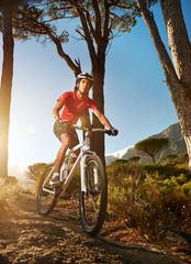 Fototapete - mountain bike athlete