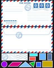 Airmail envelope and stamps set