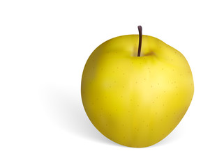 Photorealistic golden apple on white background