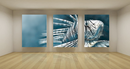 Business room, 3d art with empty space, three green chroma key f