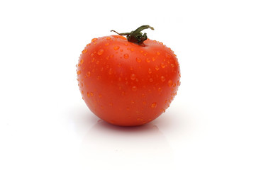 Single wet tomato isolated on white background