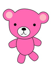 Pink bear cartoon isolated on white background