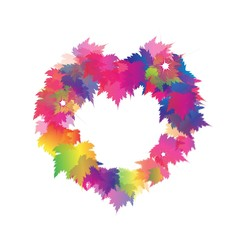 Beautiful Heart Shape From Colorful Maple Leaves