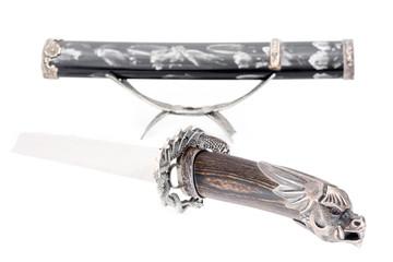 Japanese samurai sword (katana) and sheath isolated