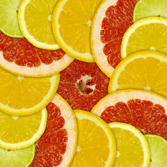 Tuinposter Plakjes fruit Abstract background of different citrus fruits