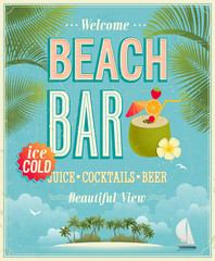 Wall Mural - Vintage Beach Bar poster. Vector background.