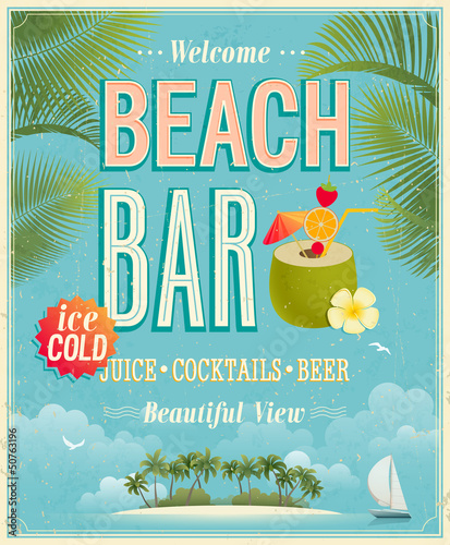 Wall mural Vintage Beach Bar poster. Vector background.