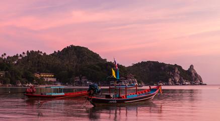 Boats at sunset, Koh Tao, Thailand