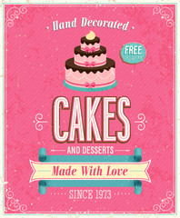 Wall Mural - Vintage Cakes Poster. Vector illustration.