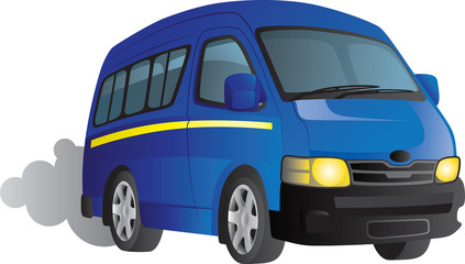 Vector cartoon of a blue minibus taxi