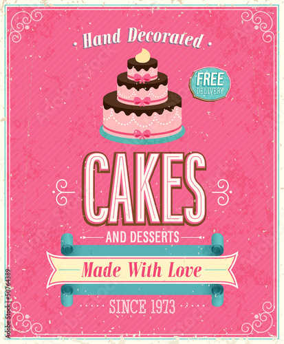 Wall mural Vintage Cakes Poster. Vector illustration.