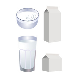 Pack of milk with glass. Vector illustration