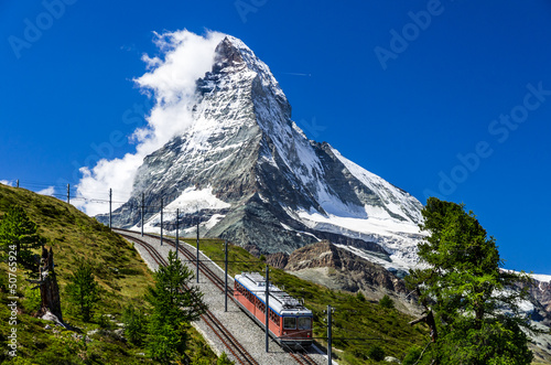 Wall mural Gornergrat train and Matterhorn. Switzerland