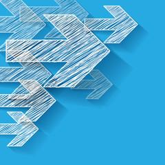Pfeil Weiter Ecke Scribble Hintergrund Blau