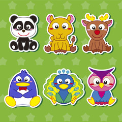Six Cute Cartoon Animal Stickers