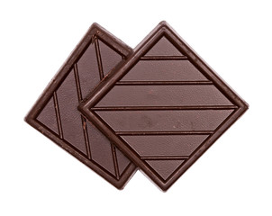 two square chocolate bar on a white background
