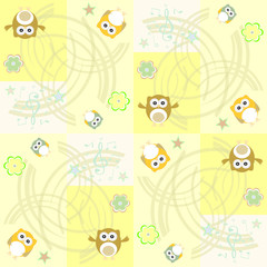 Seamless flowers and owl pattern background