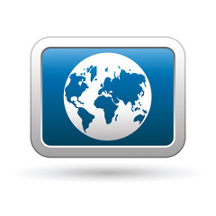 Earth globe icon on the blue with silver rectangular button.