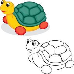 Turtle toy. Coloring book. Vector illustration.
