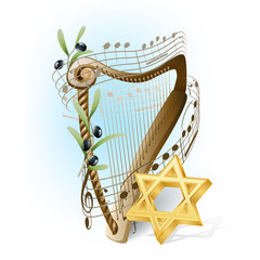 harp with musical notes, olives and star of David