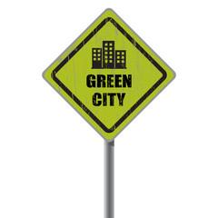 Green city road sign.